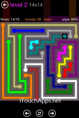Flow Purple Pack 14 x 14 Level 2 Solution