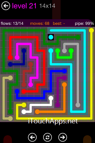 Flow Purple Pack 14 x 14 Level 21 Solution