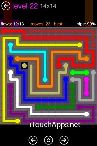 Flow Purple Pack 14 x 14 Level 22 Solution