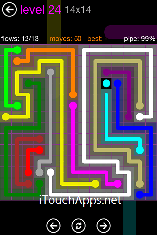 Flow Purple Pack 14 x 14 Level 24 Solution