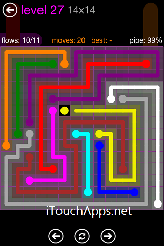 Flow Purple Pack 14 x 14 Level 27 Solution