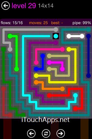Flow Purple Pack 14 x 14 Level 29 Solution