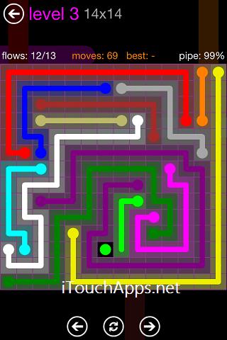 Flow Purple Pack 14 x 14 Level 3 Solution