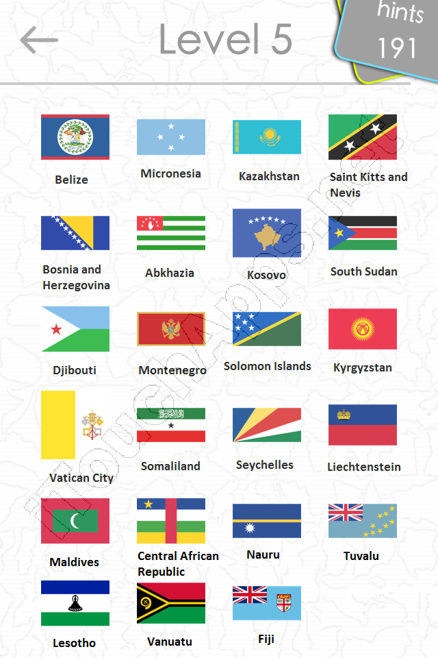 flags quiz answers: level 5 part 2