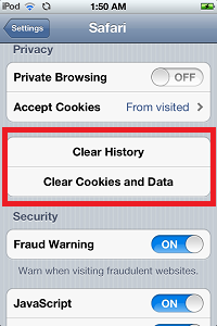 Clear Safari Cookies - How to Free Up Space on Ipod Touch