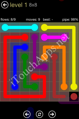 Flow Game 8x8 Mania Pack Level 1 Solution
