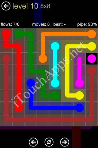 Flow Game 8x8 Mania Pack Level 10 Solution