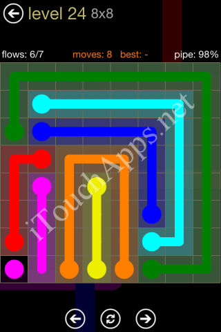 Flow Game 8x8 Mania Pack Level 24 Solution