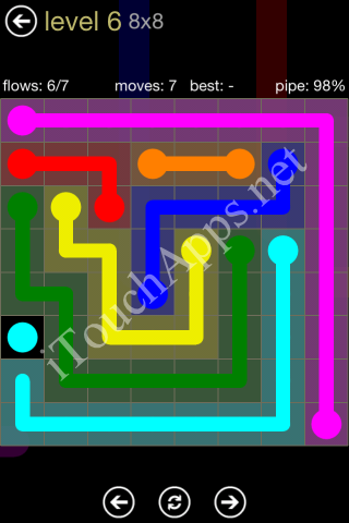 Flow Game 8x8 Mania Pack Level 6 Solution