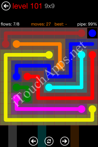 Flow Game 9x9 Mania Pack Level 101 Solution