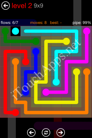 Flow Game 9x9 Mania Pack Level 2 Solution
