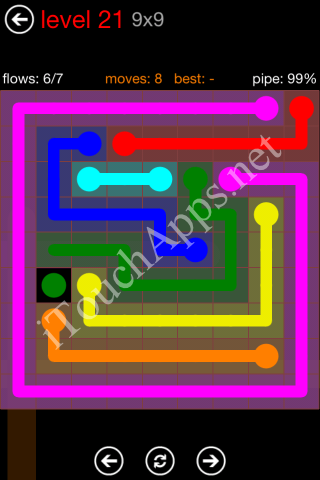 Flow Game 9x9 Mania Pack Level 21 Solution
