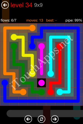 Flow Game 9x9 Mania Pack Level 34 Solution