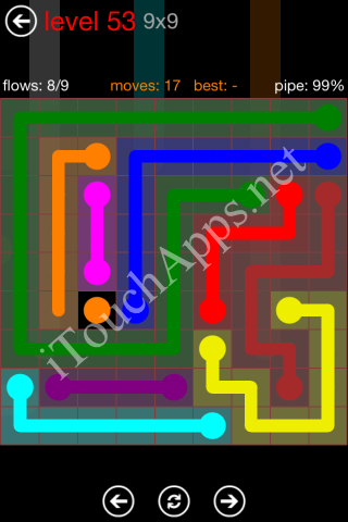 Flow Game 9x9 Mania Pack Level 53 Solution