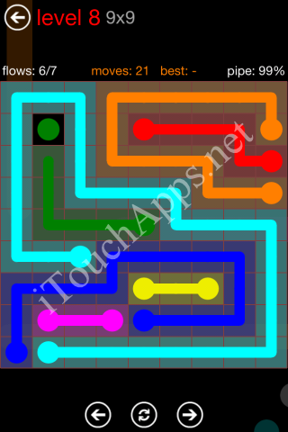Flow Game 9x9 Mania Pack Level 8 Solution