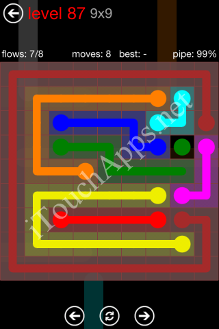 Flow Game 9x9 Mania Pack Level 87 Solution