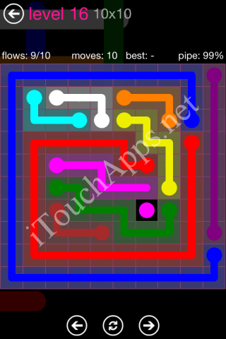 Flow Pink Pack 10 x 10 Level 16 Solution