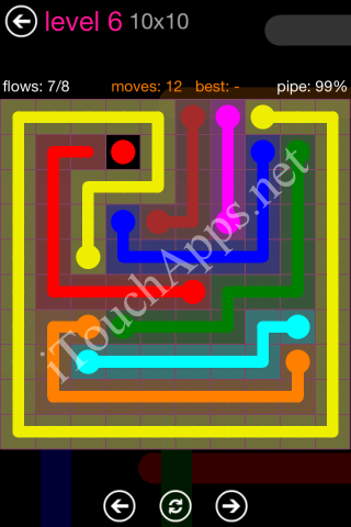 Flow Pink Pack 10 x 10 Level 6 Solution
