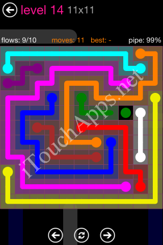 Flow Pink Pack 11 x 11 Level 14 Solution