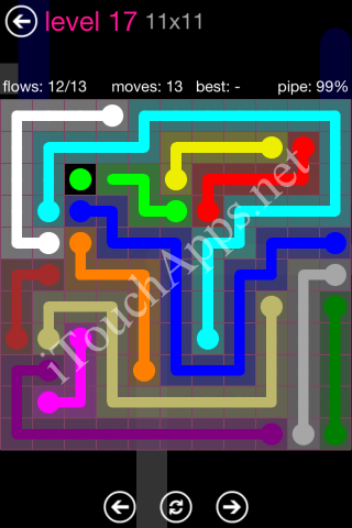 Flow Pink Pack 11 x 11 Level 17 Solution