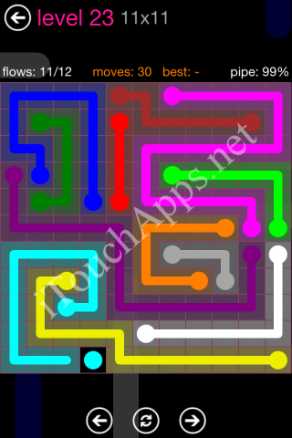 Flow Pink Pack 11 x 11 Level 23 Solution
