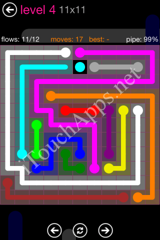 Flow Pink Pack 11 x 11 Level 4 Solution
