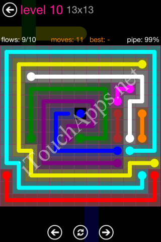 Flow Pink Pack 13 x 13 Level 10 Solution