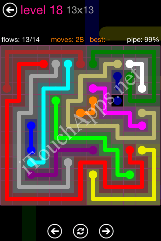 Flow Pink Pack 13 x 13 Level 18 Solution