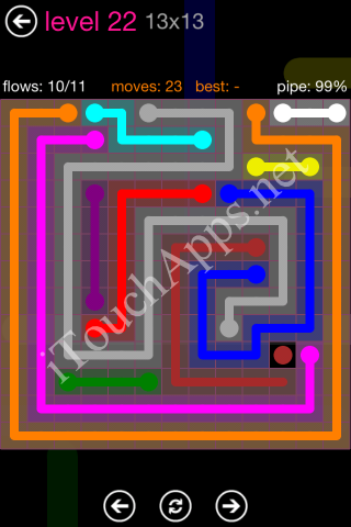 Flow Pink Pack 13 x 13 Level 22 Solution