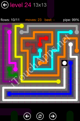 Flow Pink Pack 13 x 13 Level 24 Solution