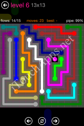 Flow Pink Pack 13 x 13 Level 6 Solution