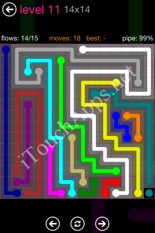 Flow Pink Pack 14 x 14 Level 11 Solution