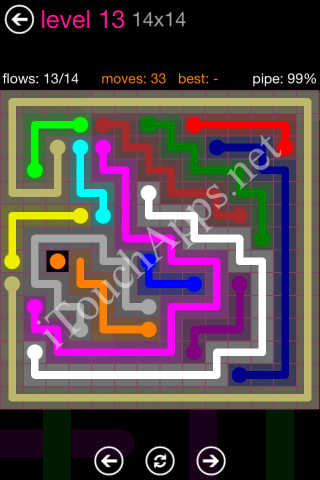 Flow Pink Pack 14 x 14 Level 13 Solution