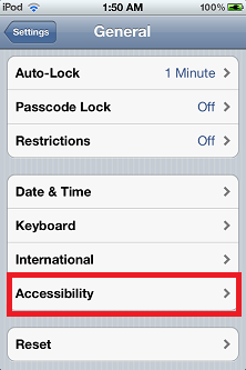 Setting General Accessibility - How to Check Ipod Touch Battery Percentage