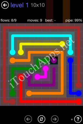 Flow Game 10x10 Mania Pack Level 1 Solution