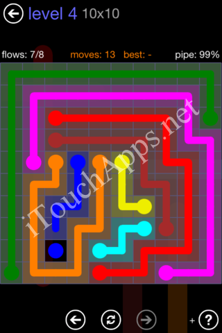 Flow Game 10x10 Mania Pack Level 4 Solution