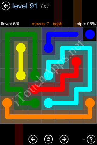 Flow Game Rainbow Pack Level 91 Solution