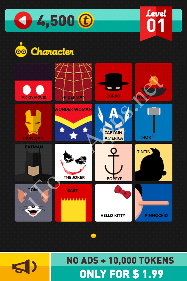 Icon Pop Quiz Character Quiz Level 1 Answers / Solutions