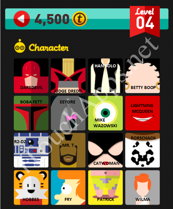 Icon Pop Quiz Character Quiz Level 4 Part 1 Answers / Solutions