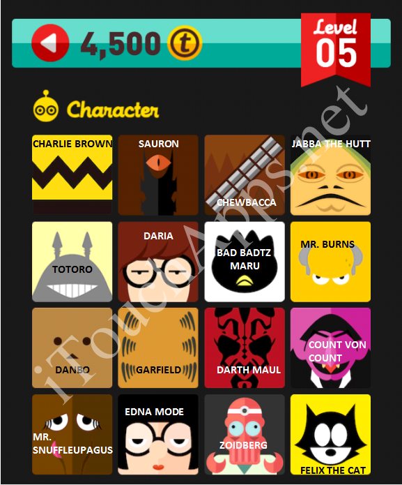 Icon Pop Quiz Character Quiz Level 5 Part 1 Answers / Solutions