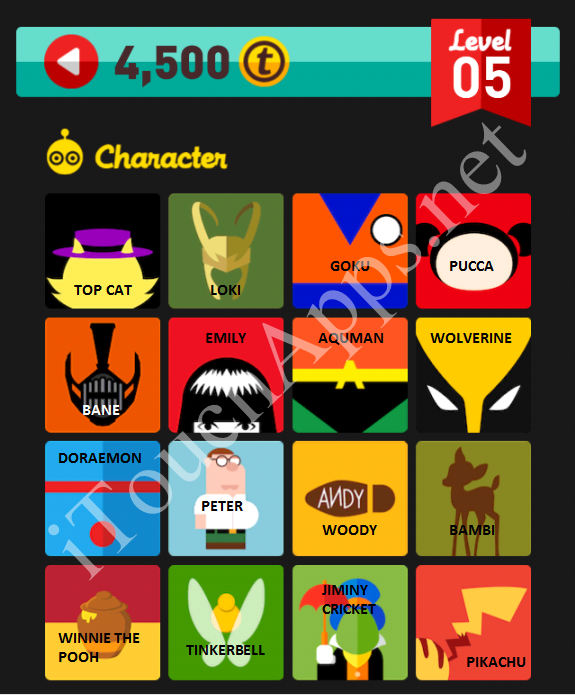 Icon Pop Quiz Character Quiz Level 5 Part 2 Answers / Solutions