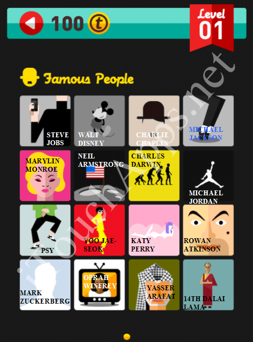 Icon Pop Quiz Game Famous People Quiz Level 1 Answers / Solutions