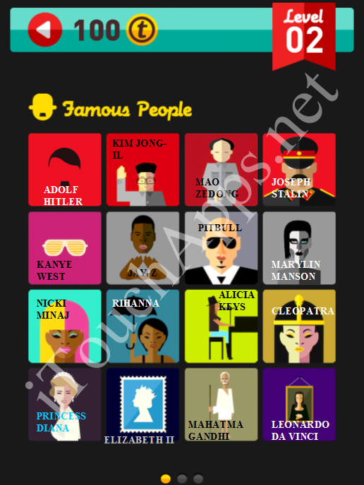 Icon Pop Quiz Game Famous People Quiz Level 2 Part 1 Answers / Solutions