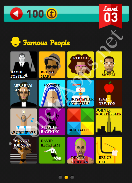 Icon Pop Quiz Game Famous People Quiz Level 3 Part 2 Answers / Solutions
