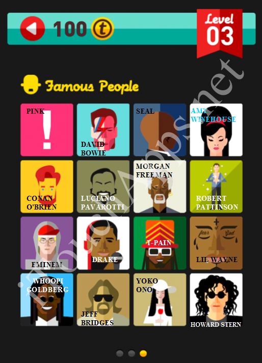 Icon Pop Quiz Game Famous People Quiz Level 3 Part 3 Answers / Solutions