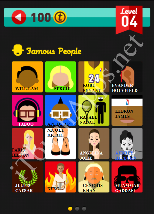 Icon Pop Quiz Game Famous People Quiz Level 4 Part 1 Answers / Solutions