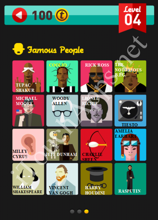 Icon Pop Quiz Game Famous People Quiz Level 4 Part 3 Answers / Solutions