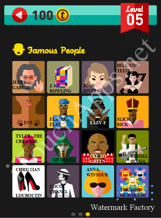 Icon Pop Quiz Game Famous People Quiz Level 5 Part 3 Answers / Solutions