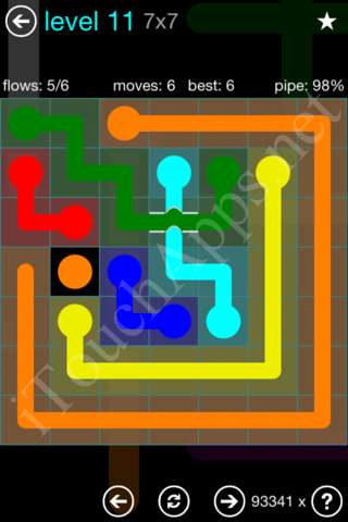 Flow Bridges 7x7 Mania Pack Level 11 Solution