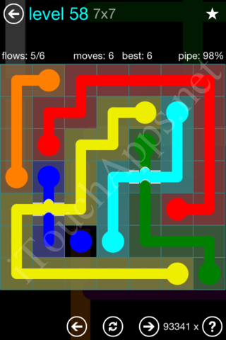Flow Bridges 7x7 Mania Pack Level 58 Solution